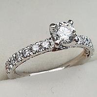 Золотое кольцо с бриллиантами 0.71Сt VS1/H VG-Cut, фото 1