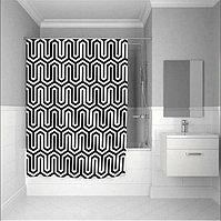 Водонепроницаемая шторка для ванной тканевая Jackline 180x200 см черно белый орнамент