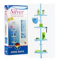Угловая полка для ванной комнаты металлические трубки с регулируемой высотой Prima Silver голубая