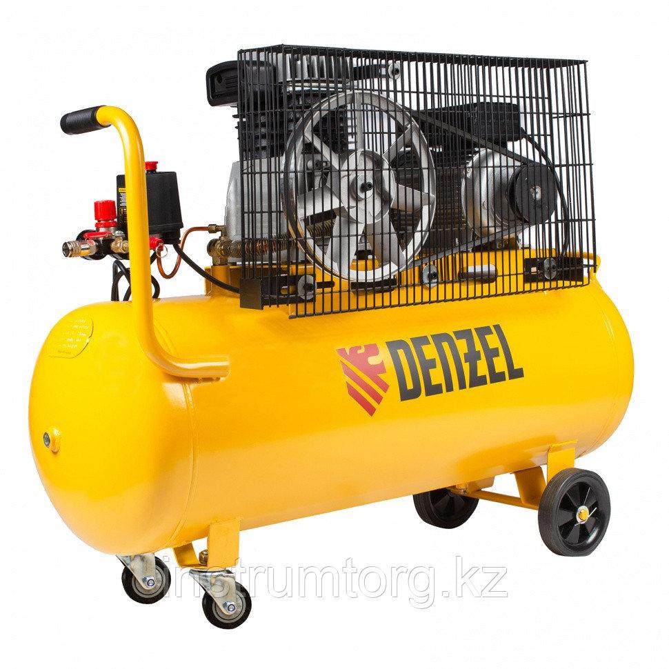 Компрессор воздушный рем. привод BCI2300/100, 2.3 кВт, 100 литров, 400 л/мин// Denzel
