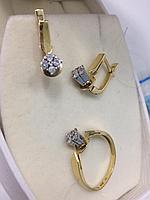 Комплект с бриллиантом / жёлтое золото