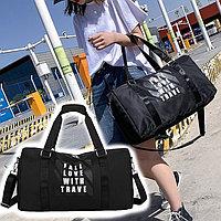 Сумка спортивная дорожная с боковым карманом и креплением для чемодана 44*25*22 см (#8907) черная