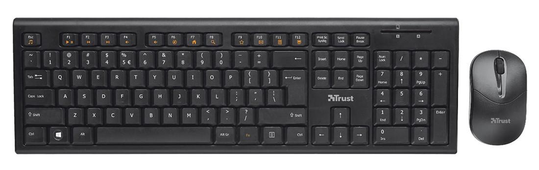 Комплект клавиатура+ мышь Trust RU NOLA WLESS черный