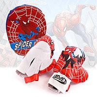 Детский боксерский набор лапа и перчатки с Человеком пауком Spider man Hong Fa