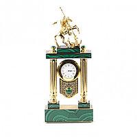 """Каминные часы """"Святой Георгий"""" из малахита и бронзы Златоуст"""