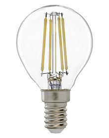 Лампа LED GLDEN-G45S-7W/230V/E14/6K,филамент,шар,прозр,(General)(10),649904