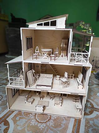 Кукольный ЭКО домик с мебелью