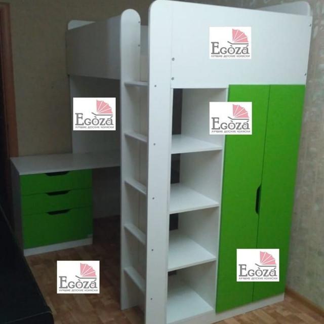 Кровать чердак Polini белый/лайм с письменным столом и шкафом
