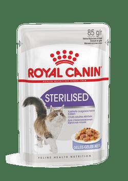 Для стерилизованных кошек и кастрированных котов в желе, Royal Canin Sterilized, пауч 85гр.