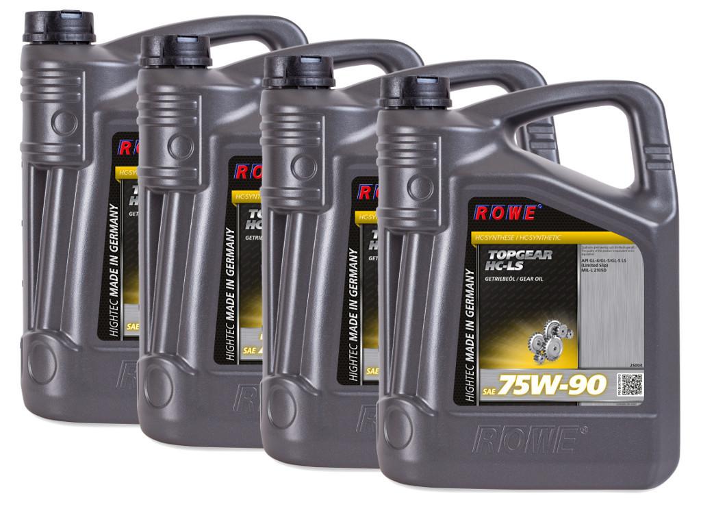 Трансмиссионное масло ROWE HIGHTEC TOPGEAR SAE 75W-90 HC-LS, 20 литров (4 x 5L)