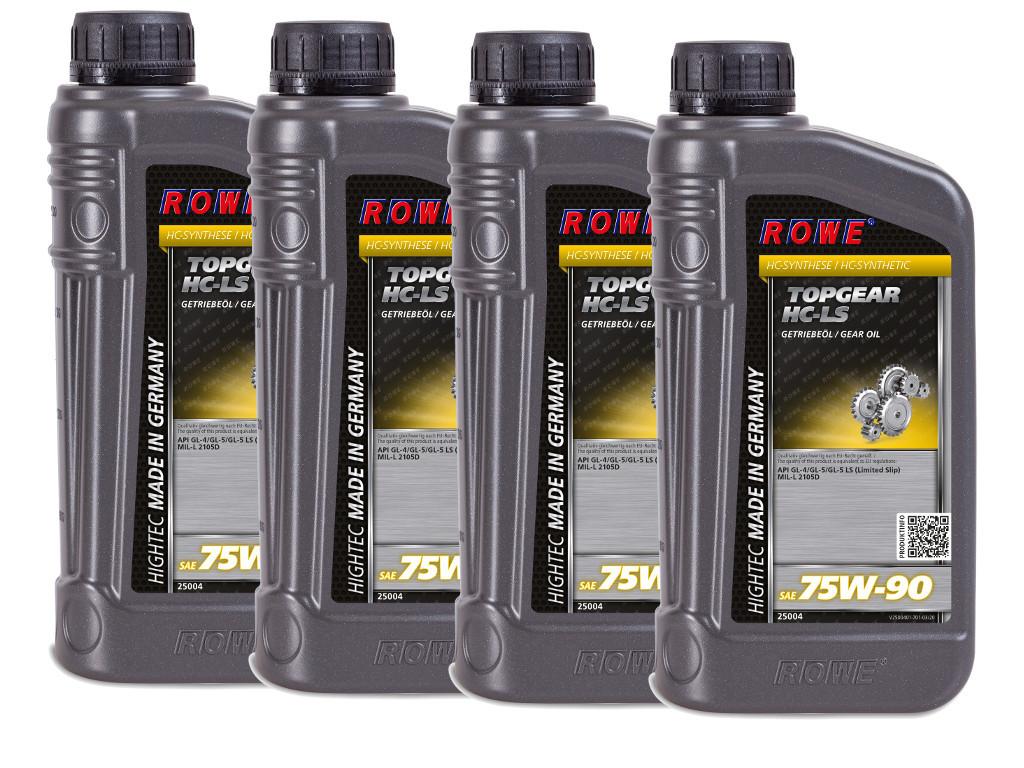 Трансмиссионное масло ROWE HIGHTEC TOPGEAR SAE 75W-90 HC-LS, 4 литра (4 x 1L)