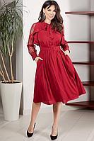 Женское осеннее шифоновое красное нарядное платье Teffi Style L-1544 бордо 46р.