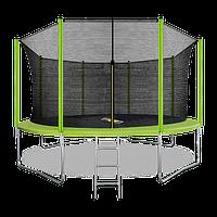 Батут ARLAND 14 ft inside с внутренней страховочной сеткой и лестницей (Light green)