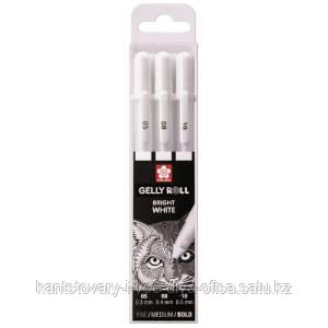 "Набор гелевых ручек Sakura ""Gelly Roll"" 3шт., белые, 0,5/0,8/1,0мм, пластик уп., европодвес"