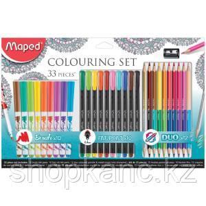 """Набор для рисования Maped """"Graph Pep's"""" 10 фломастеров-кистей, 10 капилляр. ручек, 12 цв. карандашей"""