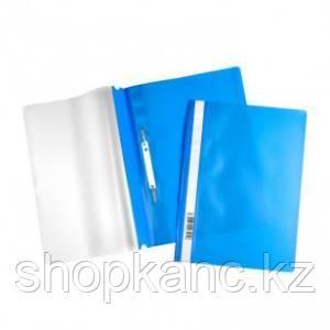 """Папка-скоросшиватель пластиковая """"Hatber"""", А4, 120/160мкм, прозрачный верх, синяя"""