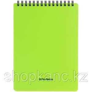 """Блокнот А5 60л. на гребне OfficeSpace """"Neon"""", салатовая пластиковая обложка"""