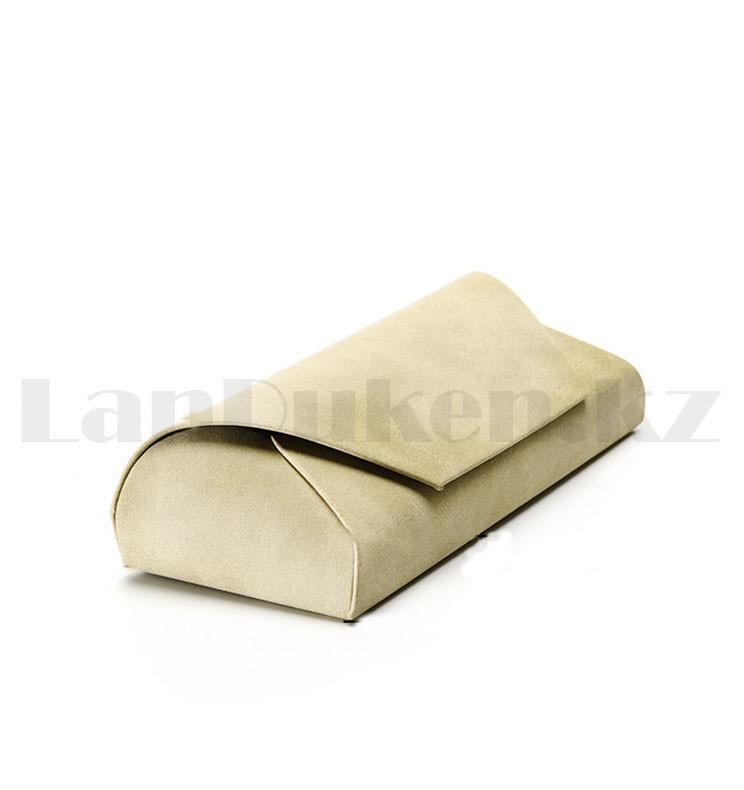 Чехол футляр каркасный для очков на магните вертикальный бежевого цвета длина 16,5 см - фото 4