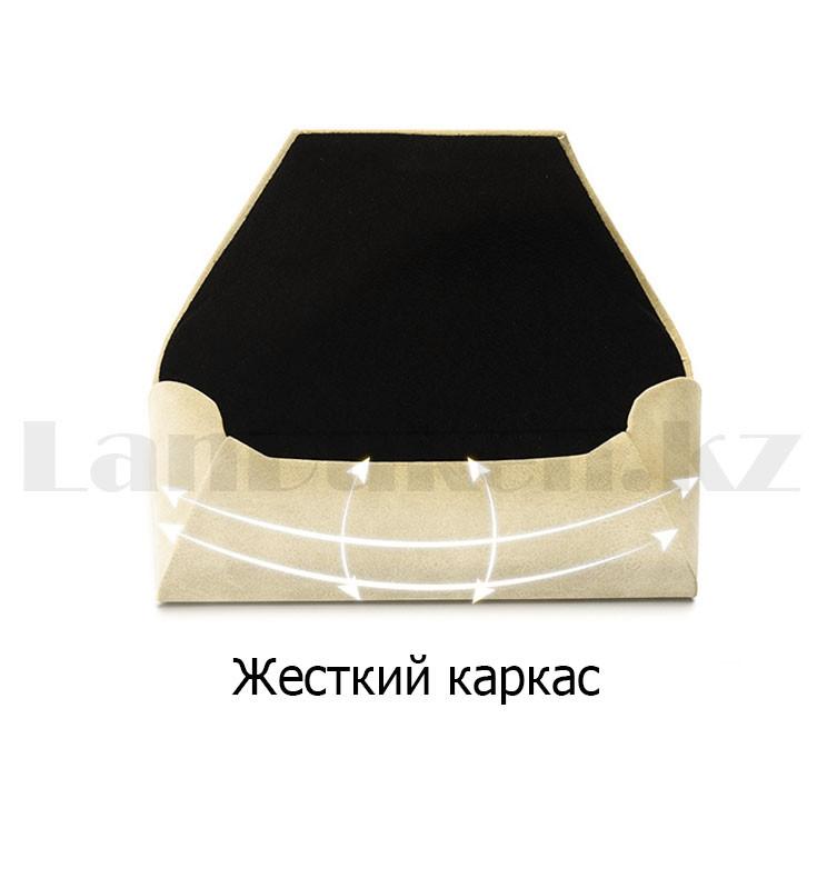 Чехол футляр каркасный для очков на магните вертикальный бежевого цвета длина 16,5 см - фото 5