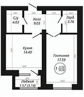 """1 ком в ЖК """"SATI CLUB HOUSE"""" 50.38 м², фото 1"""