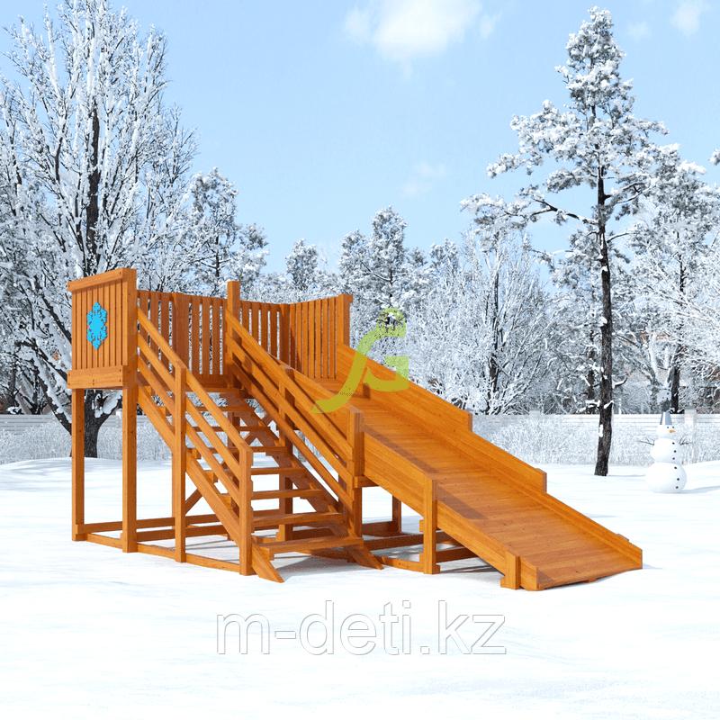 Деревянная зимняя горка Snow Fox, скат 4 м