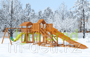"""Детская деревянная зимняя горка Snow Fox 5,9 м + """"Панда Фани Gride"""""""