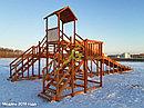 """Зимняя деревянная горка """"Snow Fox 12 м"""" с двумя скатами (две лестницы), фото 7"""