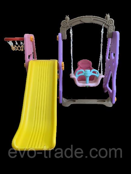 Детская горка с качелей и баскетбольным кольцом QC-08018