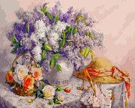 "МСА594 Картина по номерам ""Натюрморт с цветами и шляпкой"", 40х50 см."