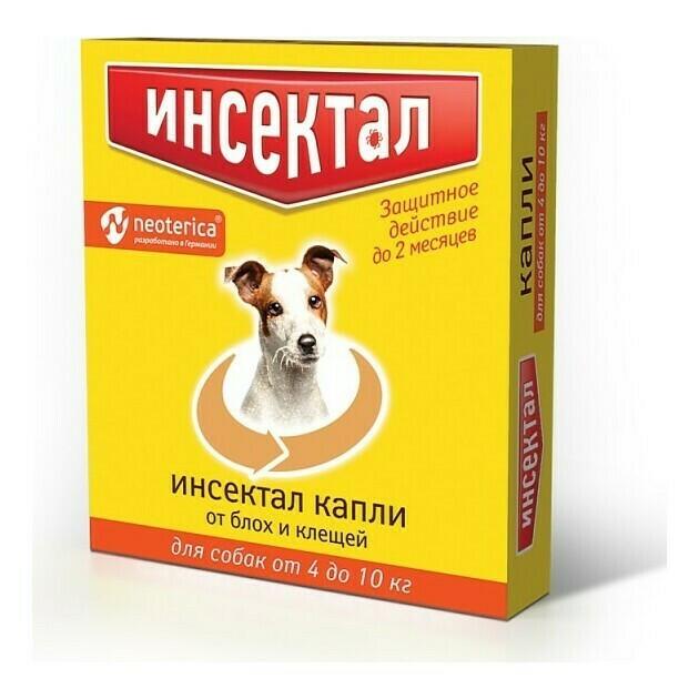 Инсектал капли от блох и клещей для собак от 4 до 10 кг