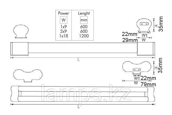 Светильник светодиодный настенный LONGA VO/T8/G13/2х9W/6500K/600MM/220V