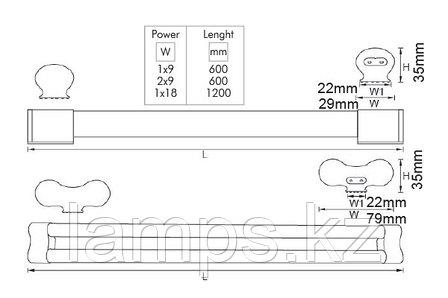 Светильник светодиодный настенный LONGA VO/T8/G13/1х18W/6500K/1200MM/220V, фото 2