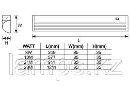 Настенный Светильник флуоресцентный TESLA/21W/Серый/T5/Настенный