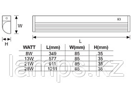 Настенный Светильник флуоресцентный TESLA/28W/Серый/T5/Настенный