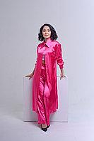 Шёлковое платье-рубашка с поясом и боковыми разрезами, на пуговицах