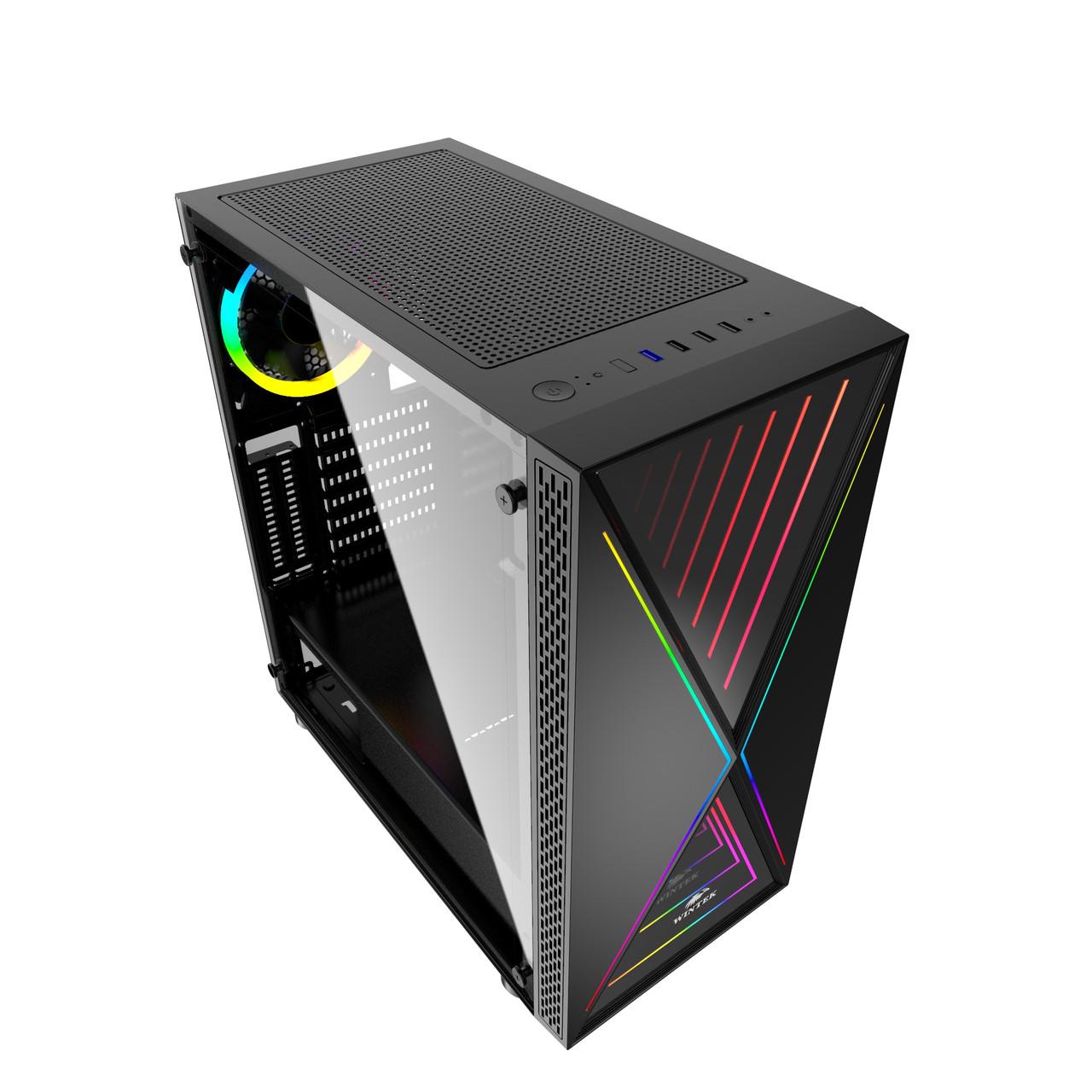 Корпус Wintek XGame T-5618 TG, ITX/ATX, USB 1*3.0/2*2.0, HD-Audio+Mic, 0,5mm, 1*ARGB fan+contr