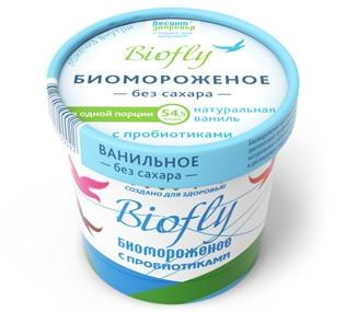 "Биомороженое ""Biofly натуральная ваниль"" б/сах., на фруктозе ст. 45гр"