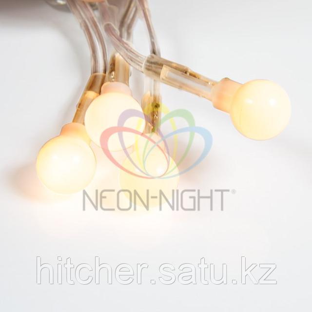 """Гирлянда """"Мишура"""" - 3 метра, 288 шариков диаметром 1 см, жёлтый свет, свечение с динамикой"""
