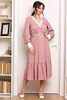 Женское осеннее из вискозы розовое платье Мода Юрс 2664 пудра 46р.