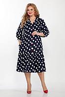 Женское осеннее синее большого размера платье Emilia Style А-540 56р.