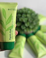 Увлажняющий солнцезащитный крем с семенами зеленого чая SPF50+ PA+++ FARMSTAY Green Tea Seed Moisture Sun Crea