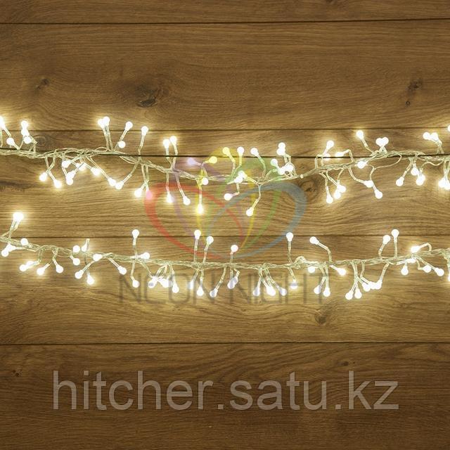 """Гирлянда """"Мишура"""" - 3 метра, 288 шариков диаметром 1 см, белый свет, свечение с динамикой"""