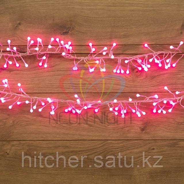 """Гирлянда """"Мишура"""" - 3 метра, 288 шариков диаметром 1 см, розовый свет, свечение с динамикой"""