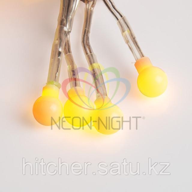 """Гирлянда """"Мишура"""" - 3 метра, 288 шариков диаметром 1 см, теплый-белый свет, свечение с динамикой"""