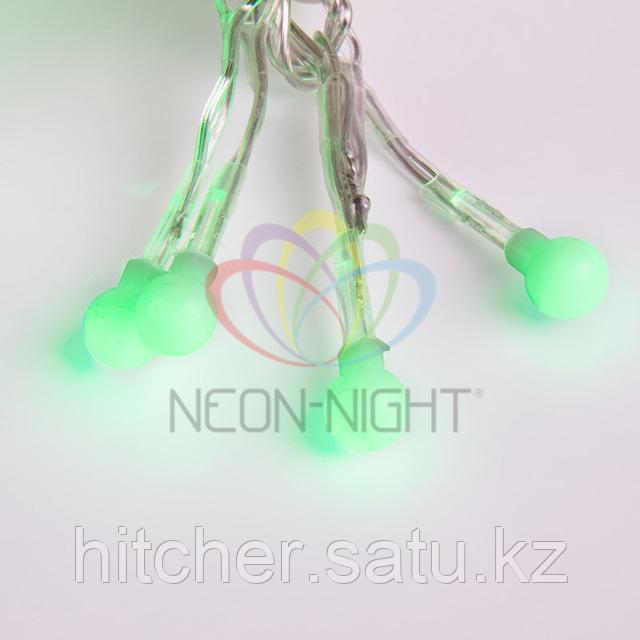 """Гирлянда """"Мишура"""" - 6метров, 576шариков диаметром 1 см, зеленый свет, свечение с динамикой."""