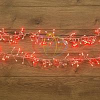 """Гирлянда """"Мишура"""" - 6 метров, 576 шариков диаметром 1 см, красный свет, свечение с динамикой"""