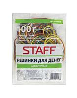 """Банковская резинка для денег """"Staff"""", 100 гр., натуральный каучук, цветные, в пакете"""
