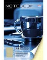 Блокнот Hatber, 80 листов, А4, клетка, перфорация, лак, жёсткая подложка, на гребне, сер.Чашка кофе