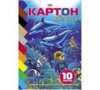 """Набор цветного картона А5ф 10цв.*10л """"VK"""" """"Дельфины"""" на клею"""