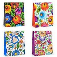 Пакет бумажный Росписные цветы 26*32*10см 4микс Китай